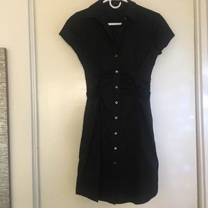 Theory stretchy black button up dress